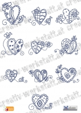 Bluework Hearts and Bugs