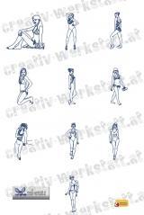Bluework Ladies in swimsuits