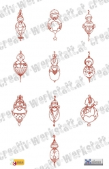 Redwork Christmas Baby Ornaments