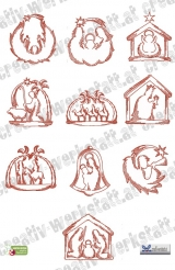 Redwork Nativity