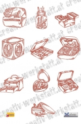 Redwork sewing boxes