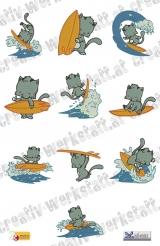 Sweet surfer kitties