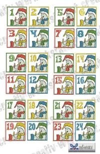Adventskalender Zahlen Schneemann