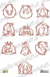 Redwork Nativity hus